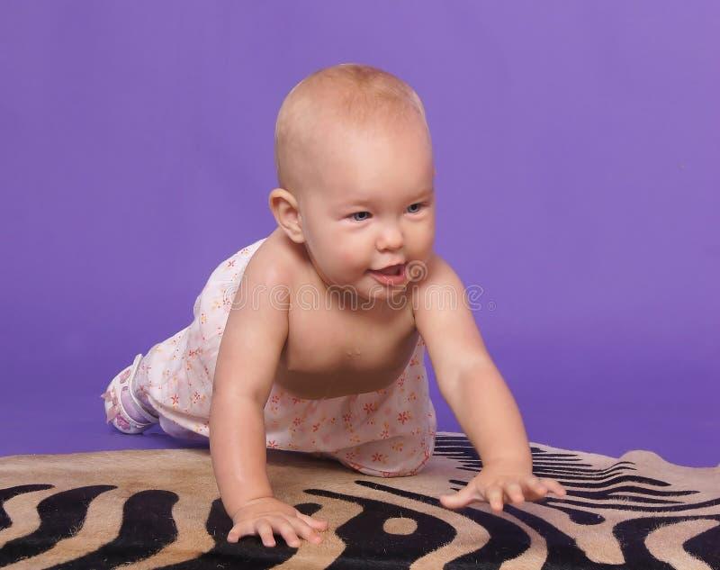 Weinig babymeisje kruipt op alle fours royalty-vrije stock fotografie