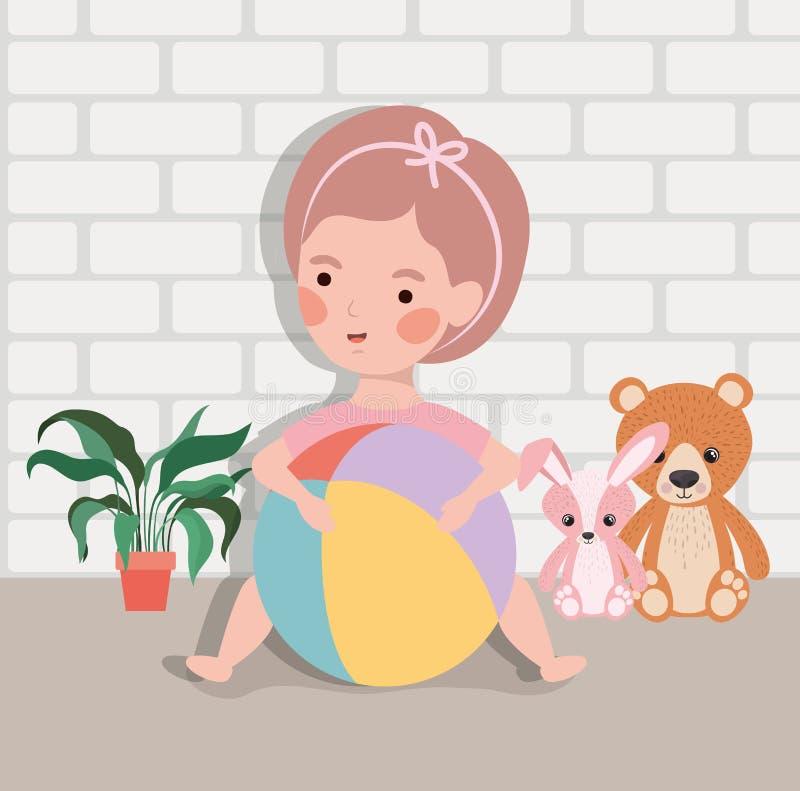 Weinig babymeisje met ballon plastic en gevuld speelgoed stock illustratie
