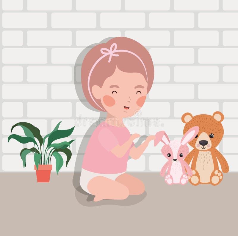 Weinig babymeisje met gevuld speelgoedkarakter vector illustratie