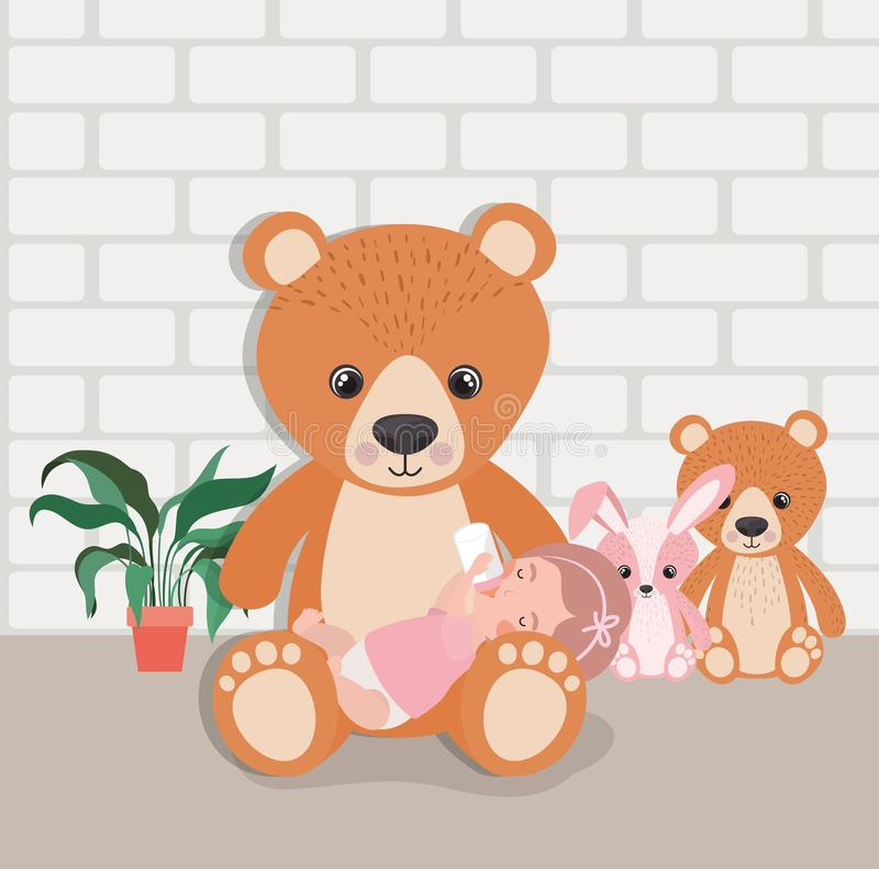Weinig babymeisje met gevuld speelgoedkarakter royalty-vrije illustratie
