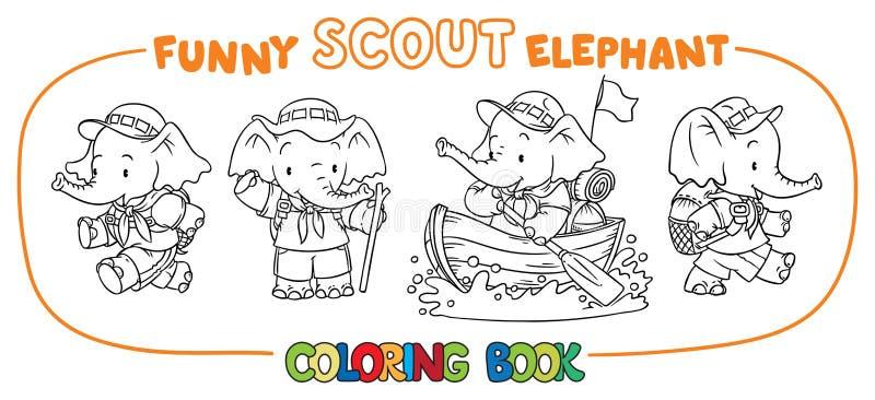 Weinig babyolifant Verkenner Het kleuren boekreeks vector illustratie