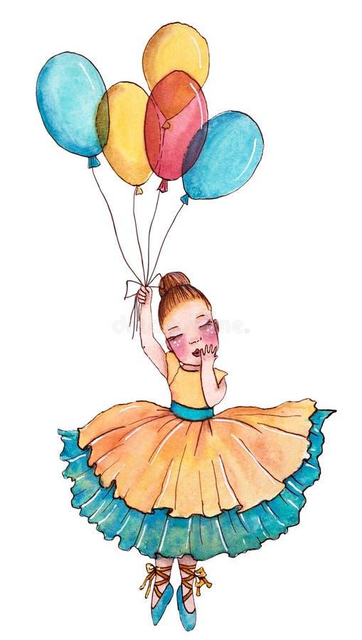 Weinig ballerina in gele en blauwe kleding die op de ballon vliegen stock illustratie