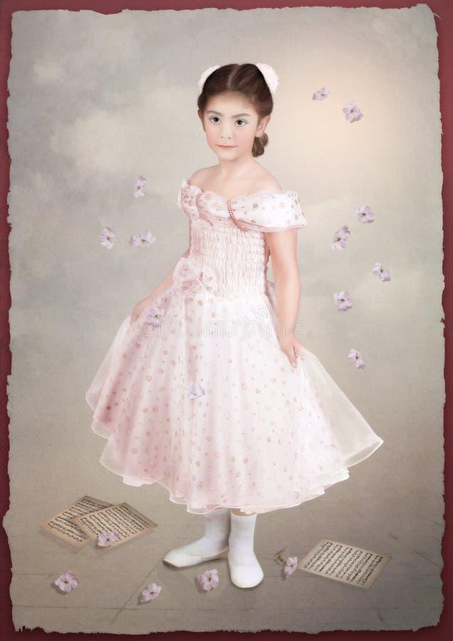 Weinig Ballerina Oude Prentbriefkaar stock fotografie