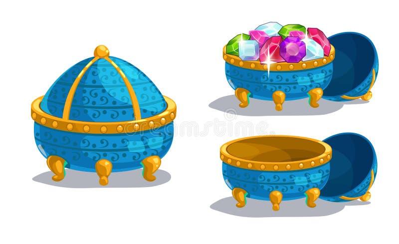 Weinig beeldverhaal blauwe kist royalty-vrije illustratie