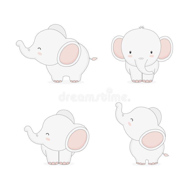 Weinig beeldverhaal van de babyolifant in verschillend stelt stock afbeelding