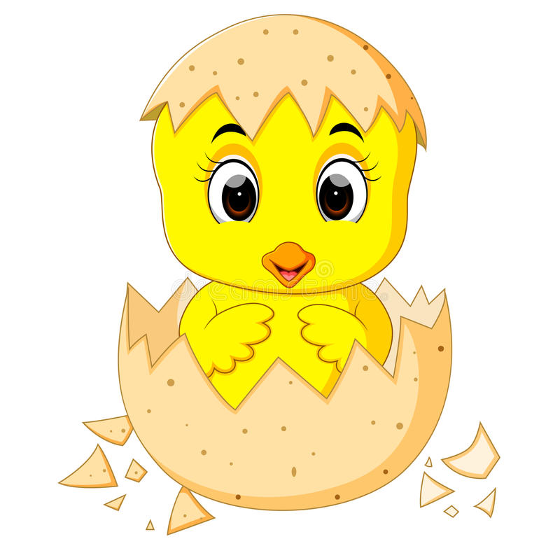 Weinig beeldverhaalkuiken dat van een ei wordt uitgebroed stock illustratie
