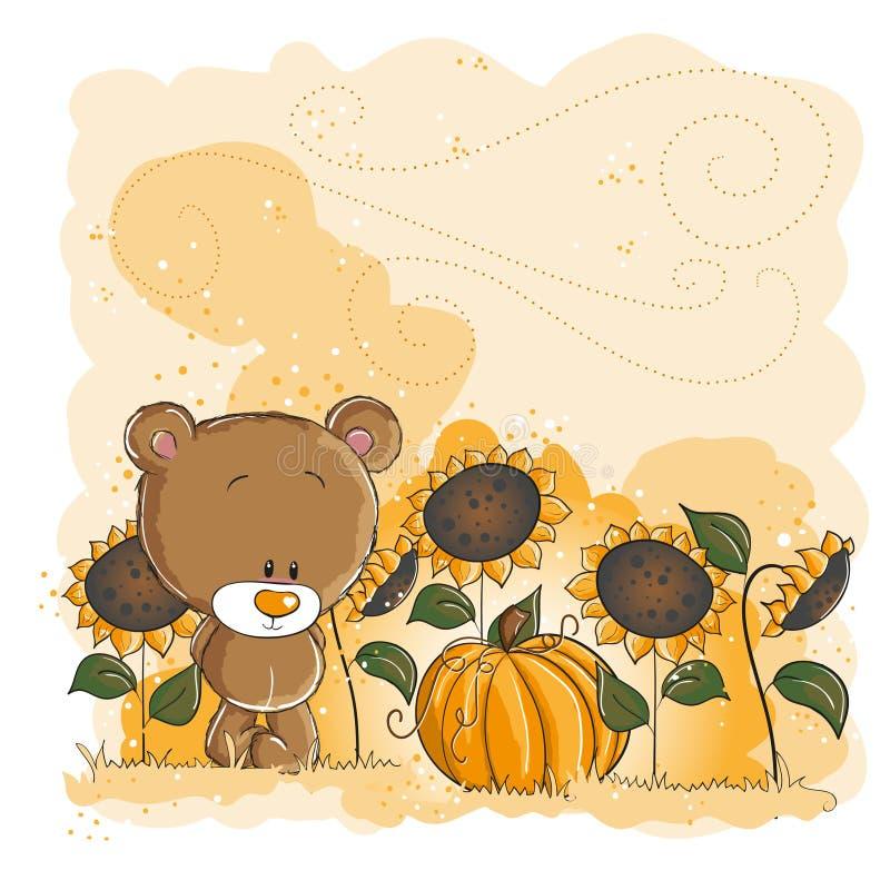 Weinig beer en pompoen - Halloween of thanksgivin vector illustratie
