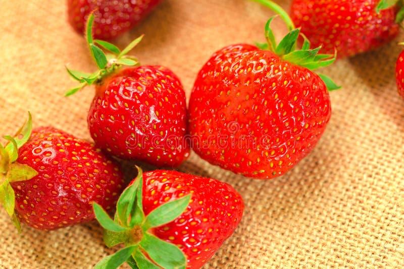 Weinig bessen met verse aardbeien op een stof royalty-vrije stock foto's