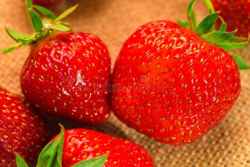 Weinig bessen met verse aardbeien op een stof royalty-vrije stock afbeelding