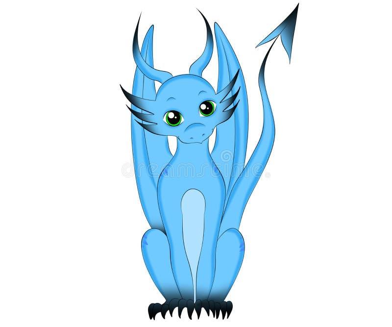 Weinig Blauwe Magische Gelukkige Draak vector illustratie