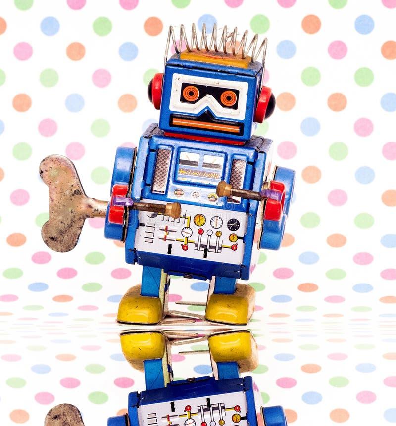 Weinig blauwe robotstuk speelgoed dichte omhooggaand stock afbeeldingen