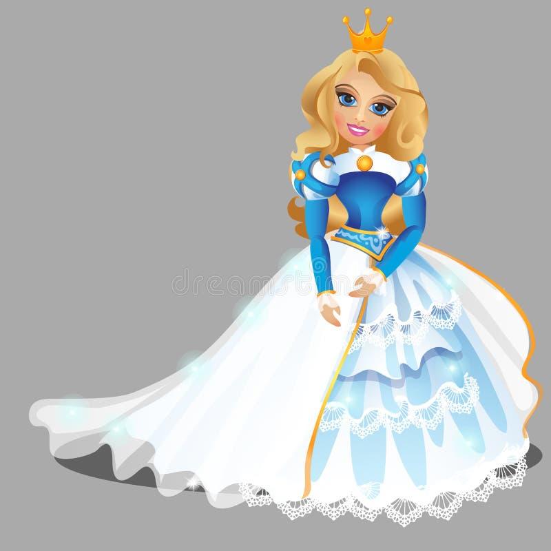 Weinig blond prinsesmeisje in blauwe balkleding en gouden die kroon op grijze achtergrond wordt geïsoleerd Vectorbeeldverhaalclos vector illustratie