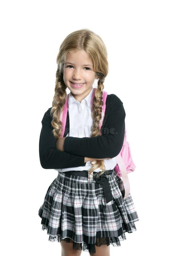 Weinig blond schoolmeisje met handtas royalty-vrije stock foto's