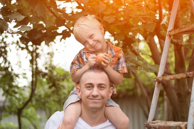 Weinig blonde jongen met een appel in zijn handen op zijn vader` s shou stock fotografie