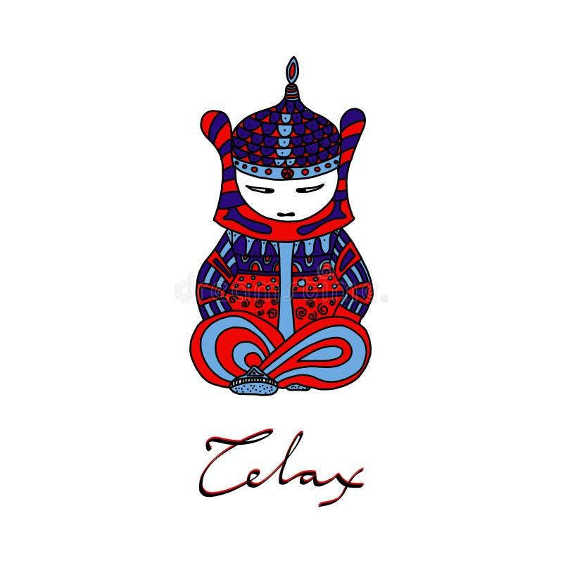 Weinig Boedha in Nirvana De kleurenillustratie en het van letters voorzien met het woord ontspannen vector illustratie