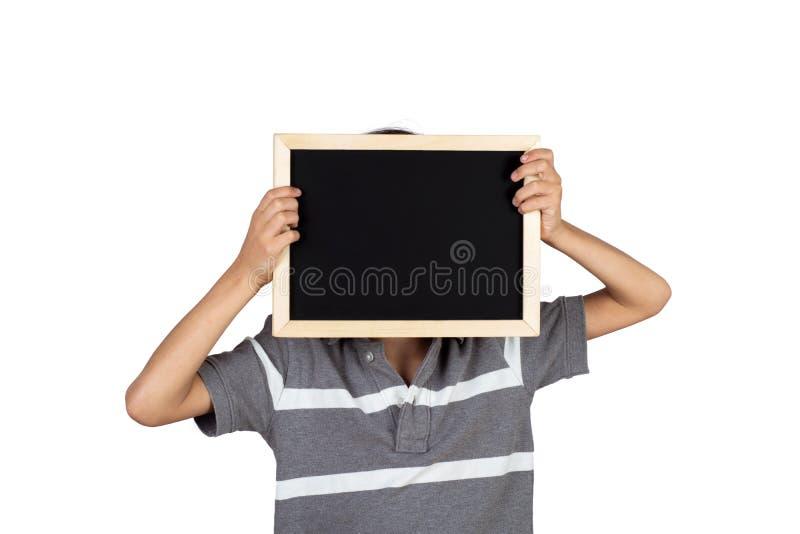 Weinig bord van de jongensholding royalty-vrije stock afbeeldingen