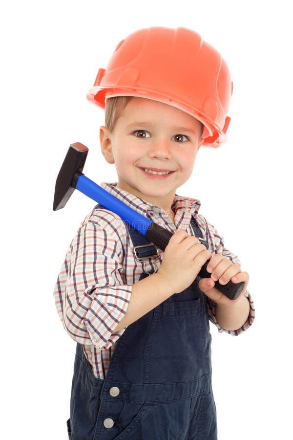 Weinig bouwer met hamer stock afbeelding