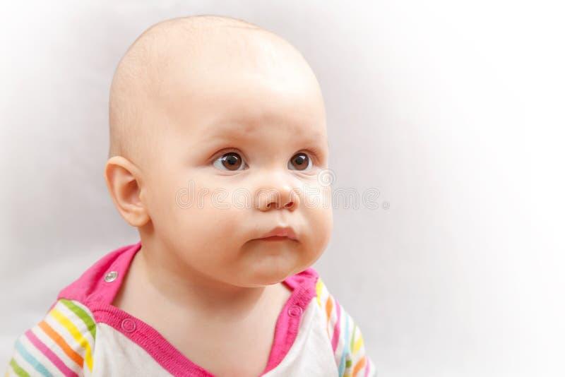 Weinig bruine eyed Kaukasische baby royalty-vrije stock afbeeldingen