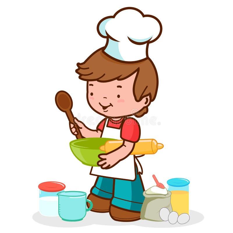 Weinig chef-kok die voorbereidingen treffen te koken royalty-vrije illustratie