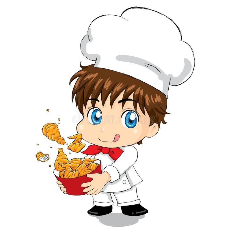 Weinig Chef-kok - Fried Chicken voor mascotte het Web van het verpakkingsmenu vector illustratie