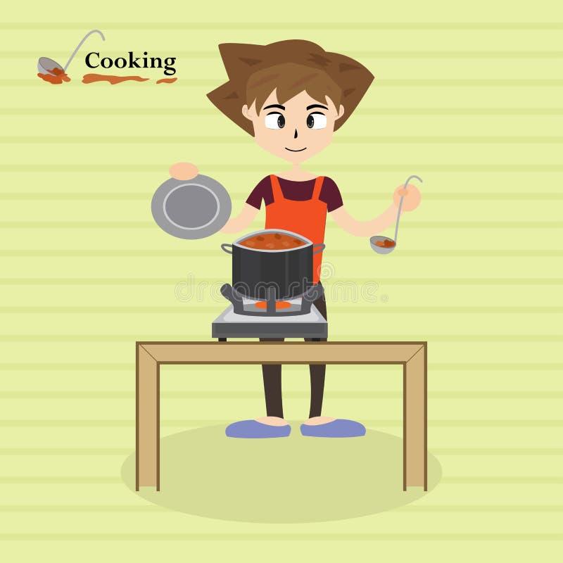 Weinig chef-kok het koken bij keuken anime, stock illustratie