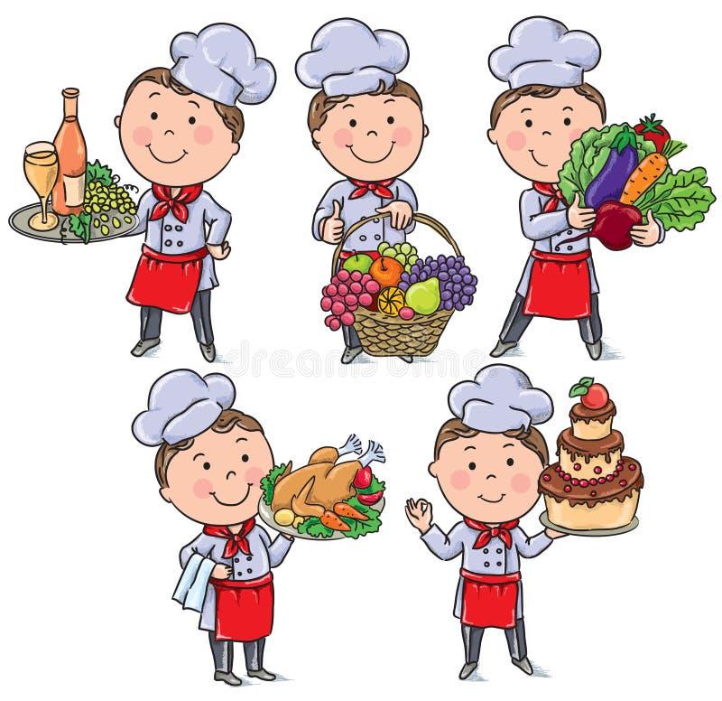 Weinig chef-kok met voedsel en maaltijd vector illustratie