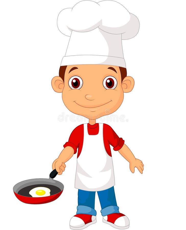 Weinig chef-kokbeeldverhaal met pan royalty-vrije illustratie