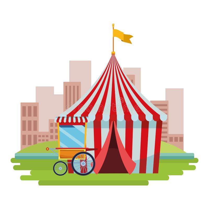 Weinig circus in de stad royalty-vrije illustratie