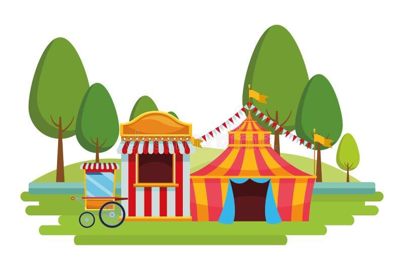 Weinig circus in het park vector illustratie