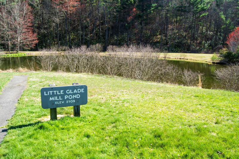 Weinig de Molenvijver van de Open plek, Blauw Ridge Parkway, Noord-Carolina, de V.S. royalty-vrije stock foto