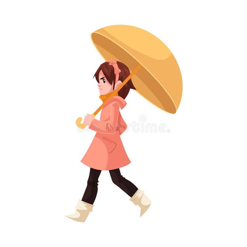 Weinig die jong geitjemeisje onder paraplu in laag en rubberlaarzengangen met regen worden geërgerd op witte achtergrond wordt ge vector illustratie