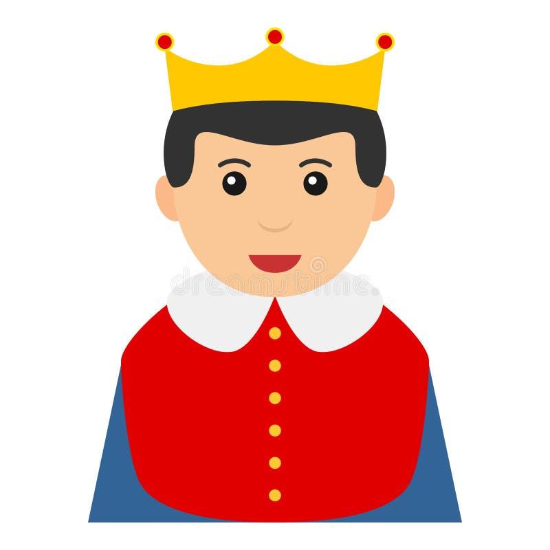 Weinig die Koning Avatar Flat Icon op Wit wordt geïsoleerd vector illustratie