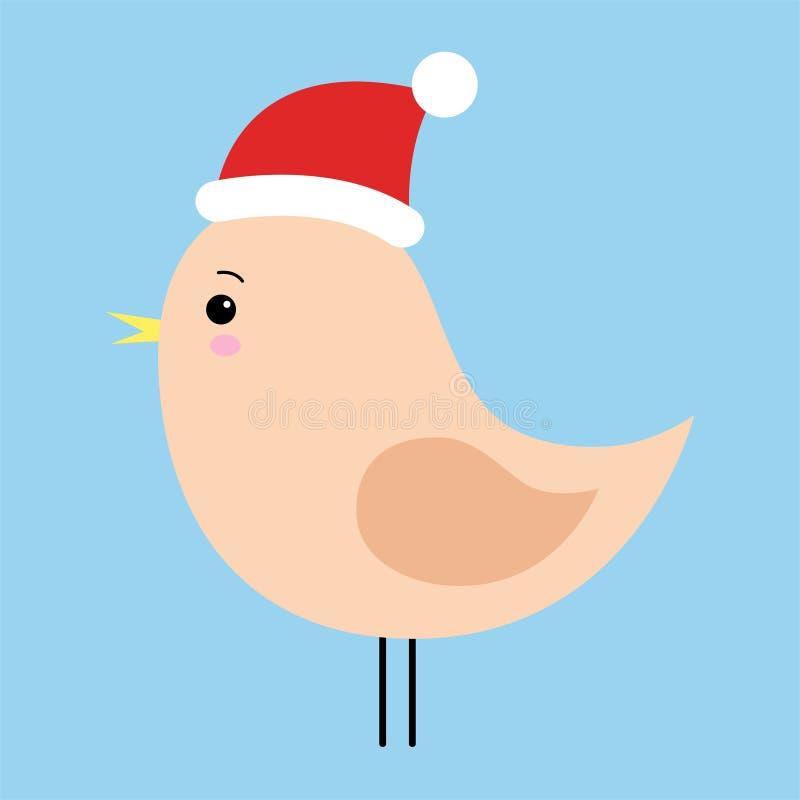 Weinig die vogel op een blauwe achtergrond wordt geïsoleerd Kerstmis Hoed van de Kerstman De winter Vector illustratie Voor vakan royalty-vrije illustratie