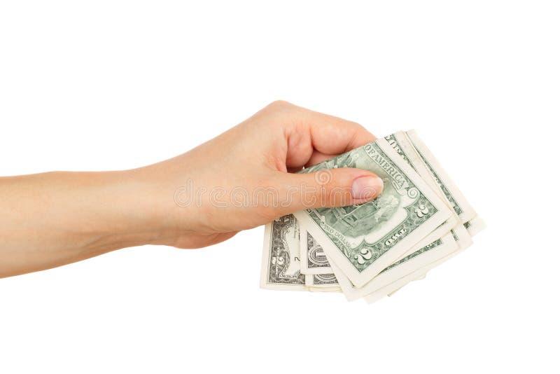Weinig dollars in de geïsoleerde vrouwen` s hand, royalty-vrije stock afbeeldingen