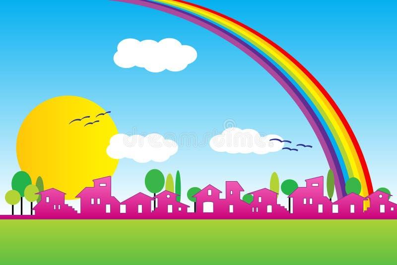 Weinig dorpssilhouet met regenboog stock illustratie