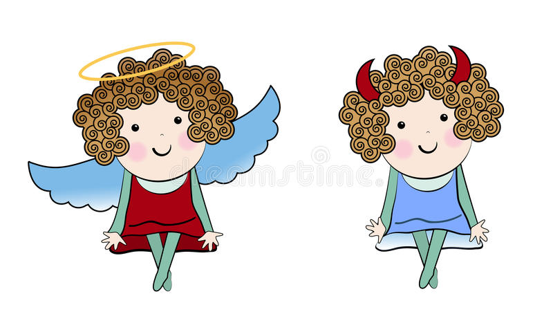 Weinig engel en Weinig duivel royalty-vrije illustratie
