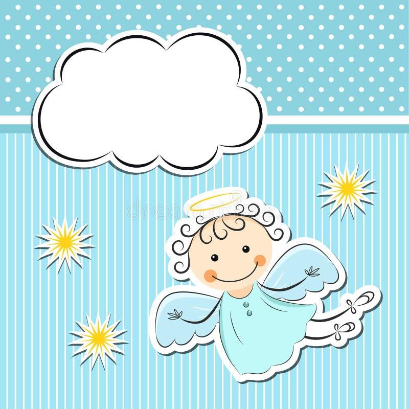 Weinig engel met sterren en wolk stock illustratie