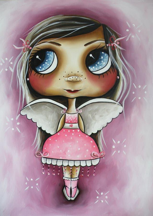 Weinig engel in roze stock foto