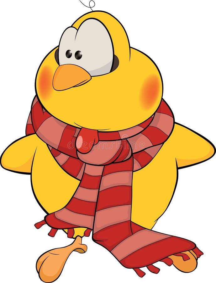 Kip met een sjaalbeeldverhaal stock illustratie