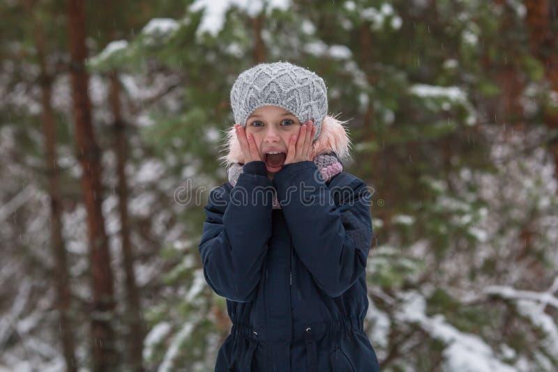 Weinig gelukkig meisje die in een sneeuwbos gillen royalty-vrije stock afbeelding