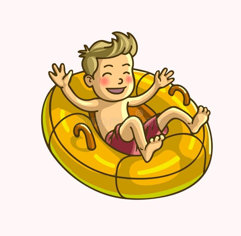 Weinig gelukkige vrolijke jongen zwemt ring vector illustratie