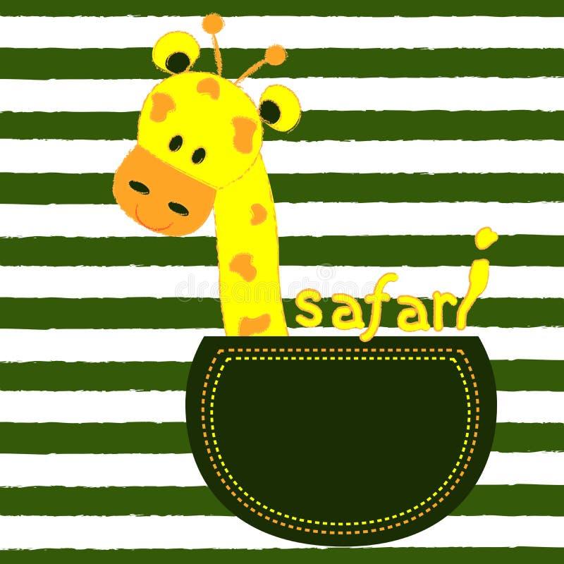Weinig giraf in een zak op een gestreepte achtergrond T-shirtontwerp voor jonge geitjes Het ontwerp van baby kleedt vectorillustr royalty-vrije illustratie