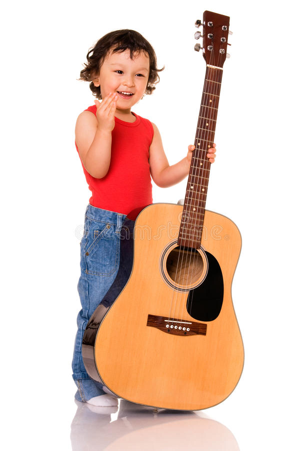 Weinig gitarist. royalty-vrije stock fotografie
