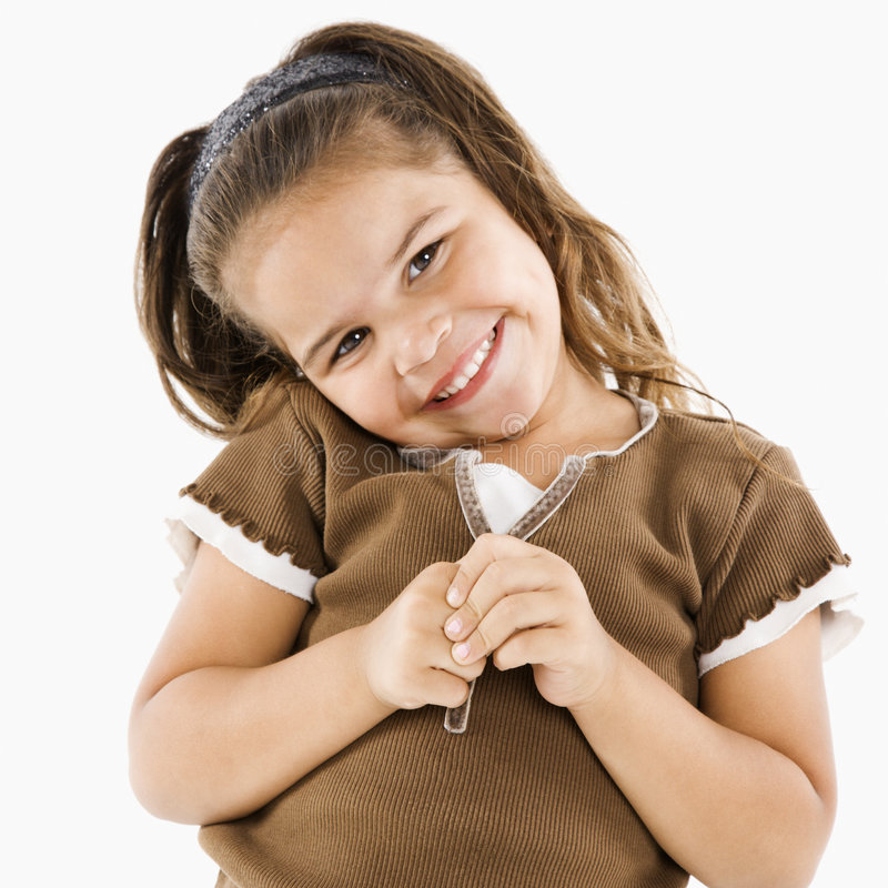 Weinig glimlachend Spaans meisje. royalty-vrije stock fotografie