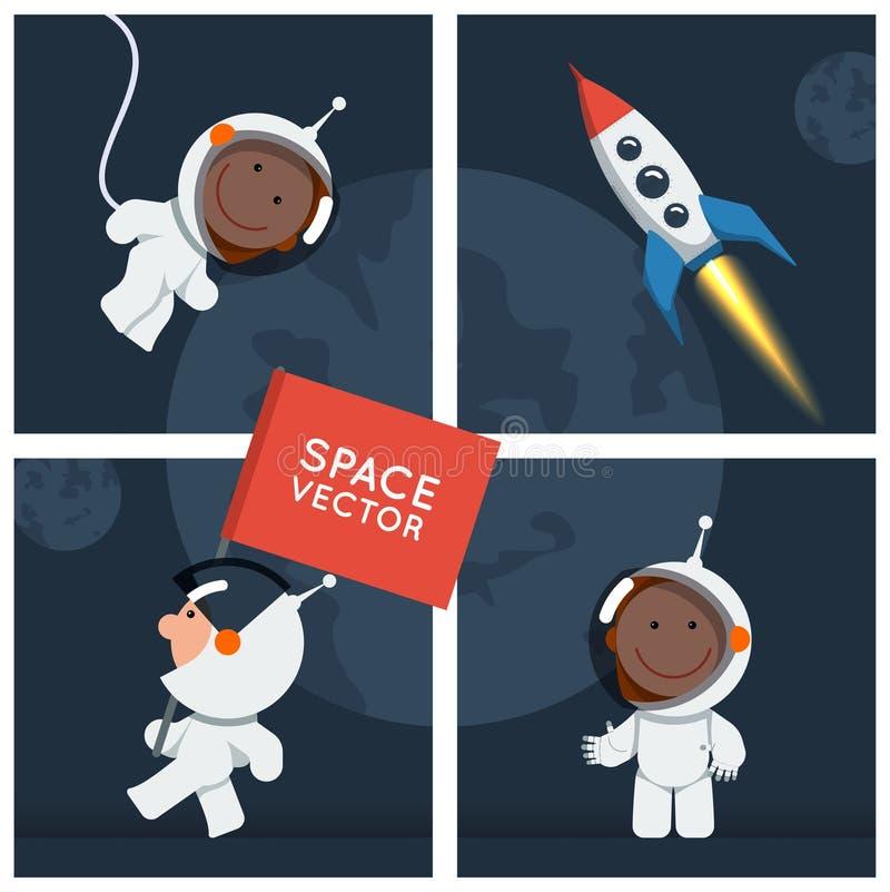 Weinig grappige astronaut dreef in ruimte met raket stock illustratie