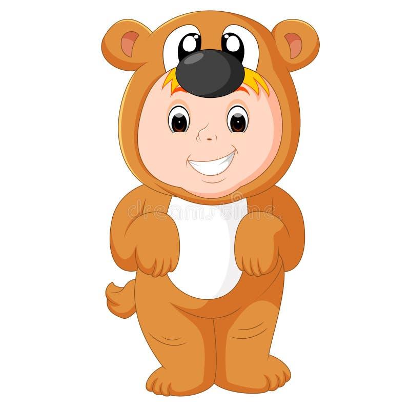 Weinig grappige baby die puppykostuum dragen royalty-vrije illustratie