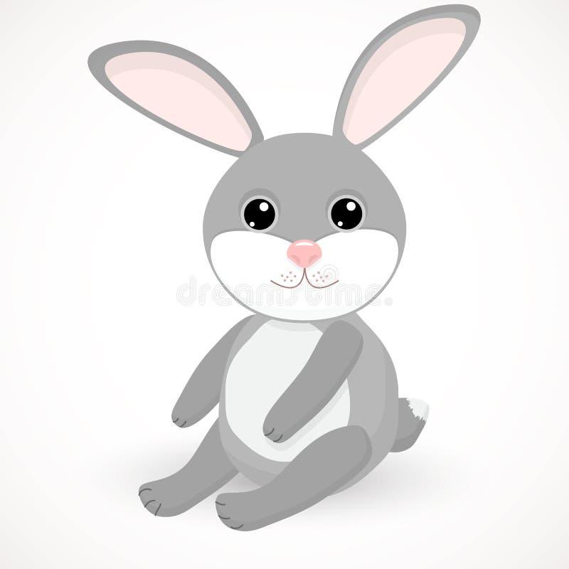 Weinig grijs leuk konijn zit stock illustratie