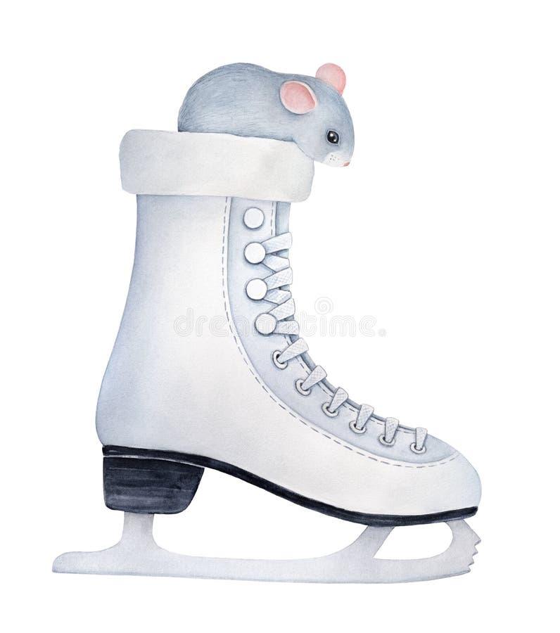 Weinig grijze muis met grote zwarte binnen schaats zitten en ogen en leuke roze oren die neer eruit zien royalty-vrije illustratie