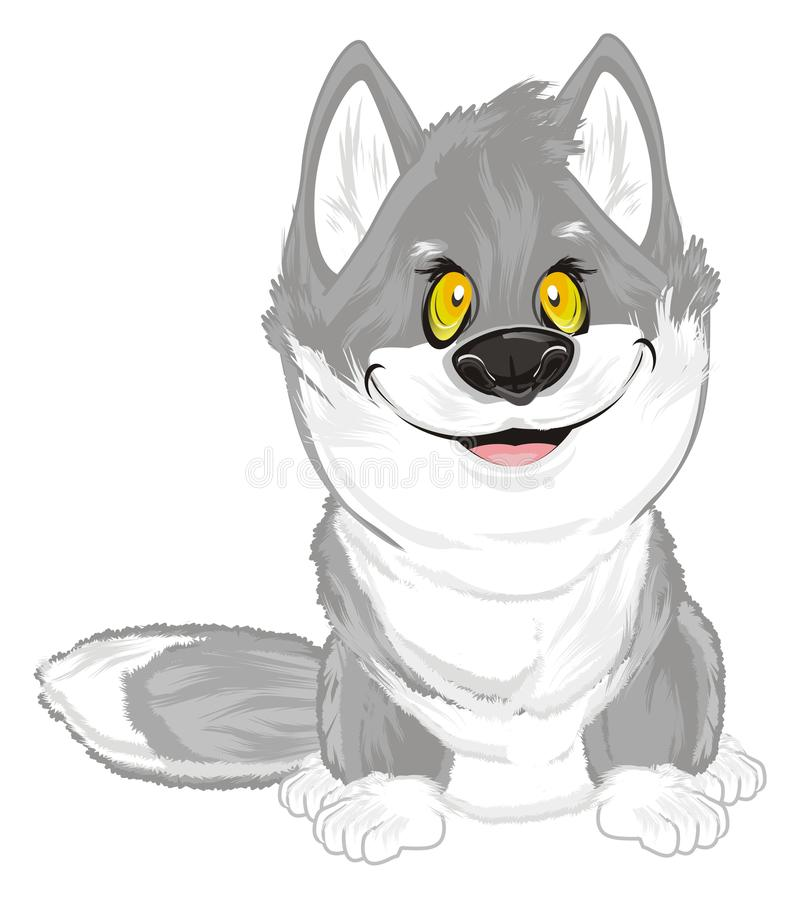 Weinig grijze wolf stock illustratie