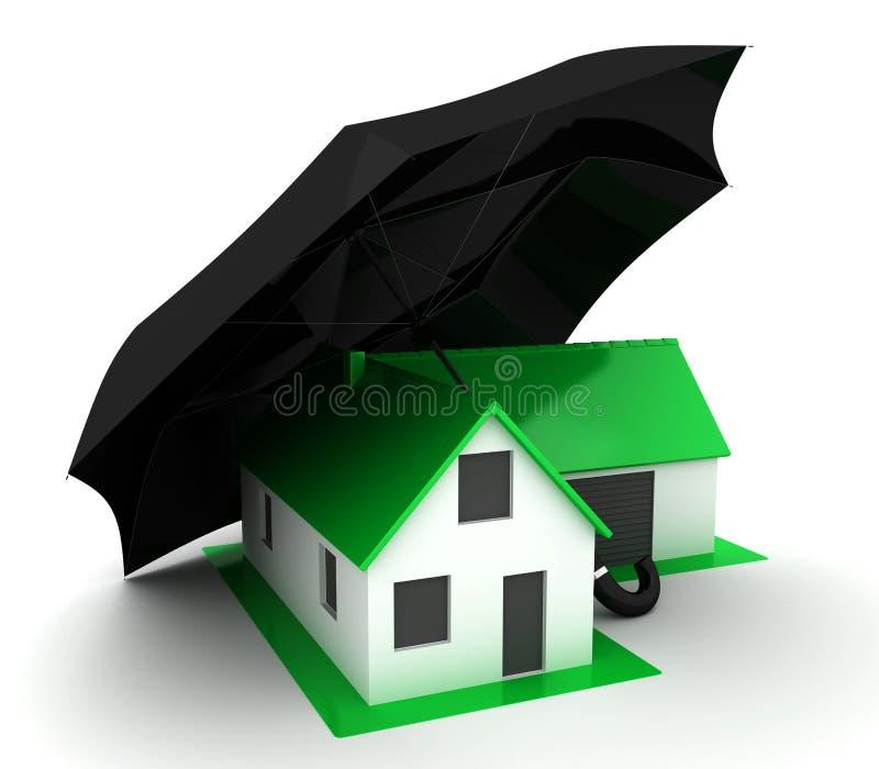 Weinig groen huis met zwarte paraplu vector illustratie